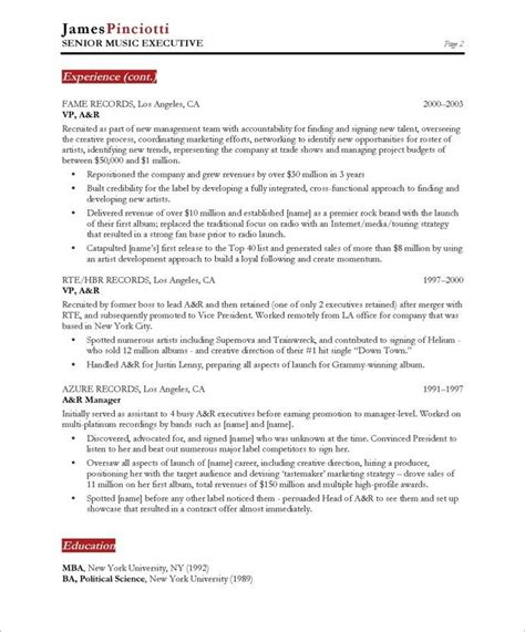 entertainment resume template industry executive page2 entertainment resumes