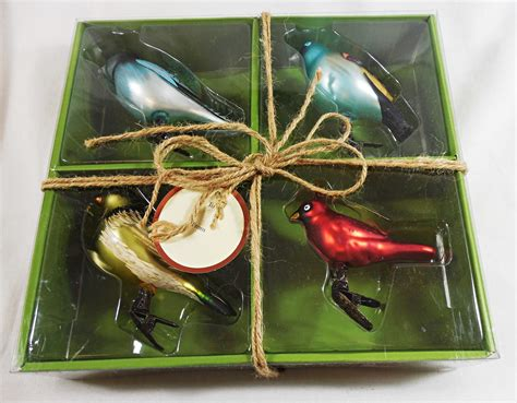 set of 4 smith hawken glass bird holiday clip on
