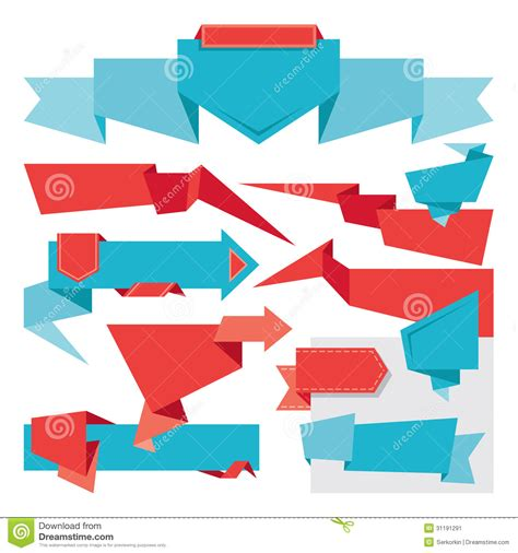 Origami Advertising - origami banners set stock image image 31191291