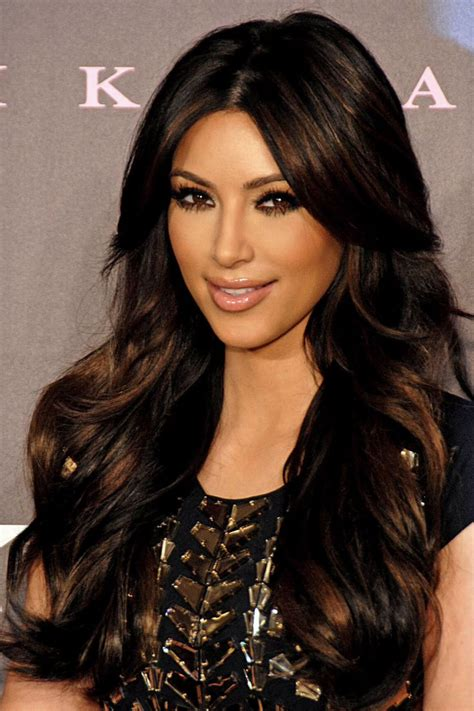 highlights for front sides only for dark brown hair kim kardashian middle part layered front side bangs on