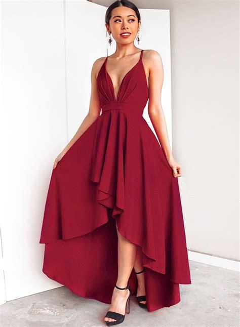Backless V Neck Dress v neck sleeveless backless high low evening dress