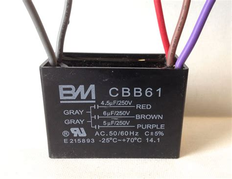 fan capacitor cbb61 bm ceiling fan capacitor cbb61 4 5uf 6uf 5uf 5wire genuine ul listed ebay