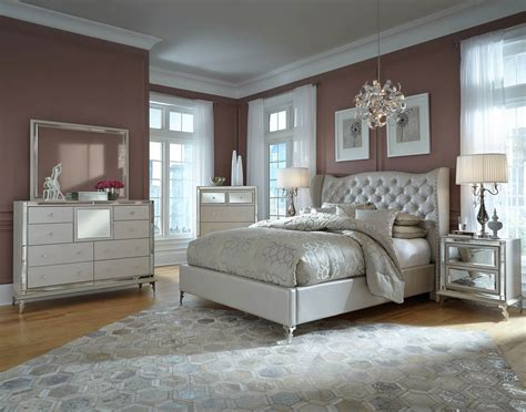 bedroom collections aico hollywood loft frost upholstered platform bedroom set