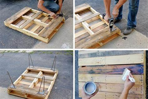 How To Make A Coffee Table From Pallets Pallet Coffee Table With Metal Hairpin Legs Diy 99 Pallets