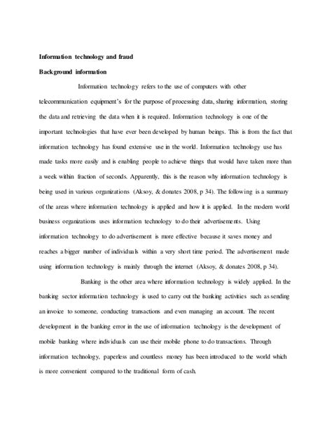 Information Technology Essay information technology essay sle