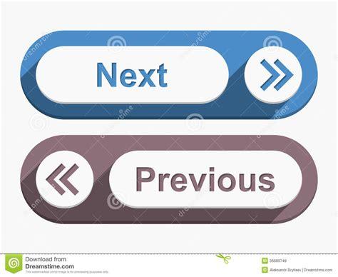 previous next next and previous buttons stock vector image of next