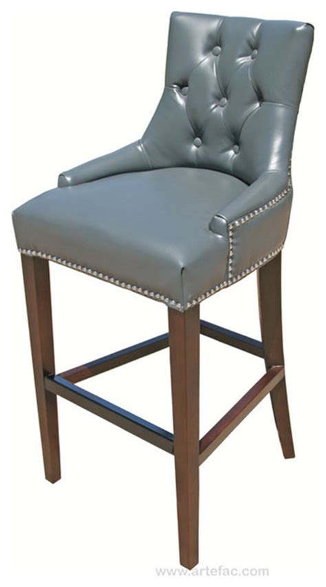 Grey Leather Counter Height Bar Stools by Tufted Leather Stool Gray Counter Height Traditional