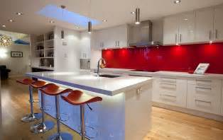 Red Backsplash Kitchen back painted glass backsplashes in red are both popular and trendy