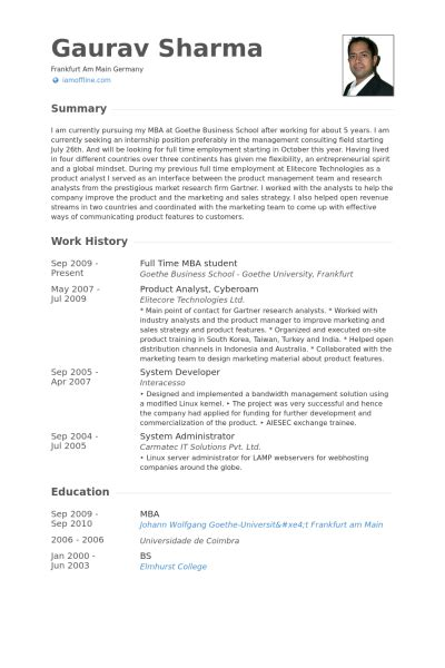 Mba Resume Consultant by Mba Student Resume Sles Visualcv Resume Sles Database