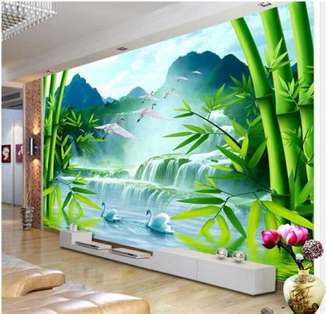 Walpaper Walsticker Dinding 10 M 50 Cm 3d wallpaper custom mural non woven wall sticker 3d bamboo forest waterfall swan scenery