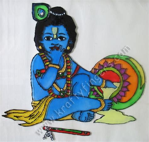 Glass Painting Krishna Outline by Bal Gopal Glass Painting Kraftyfingers