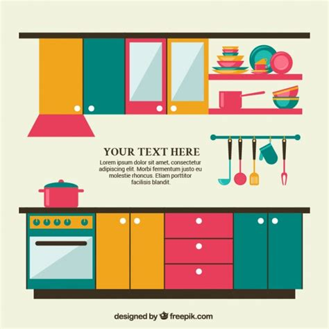 Designing Kitchen Cabinets Layout m 243 veis de cozinha coloridos baixar vetores gr 225 tis