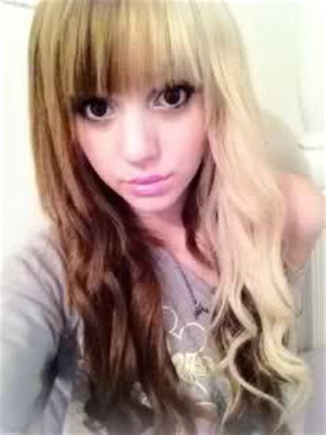 half brown half blonde hair red and blonde hair curled half split hair half and