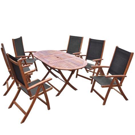 vidaxl seven piece folding outdoor dining set acacia wood