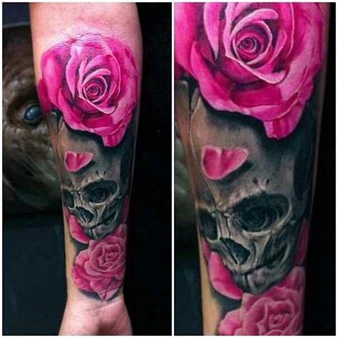 skull and rose tattoos for girls