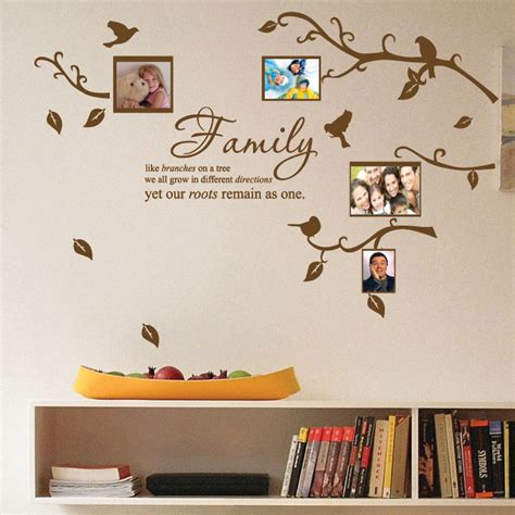 wall stickers family quotes family tree bird photo frame nursery wall stickers