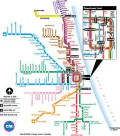 Chicago Line Map by Cta Map Chicago Transit Authority Map