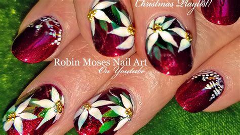 christmas robin nails diy nails poinsettia x nail design tutorial