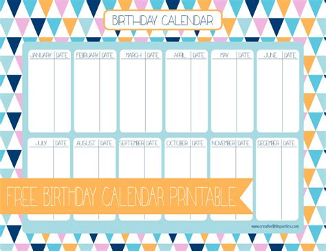 free birthday calendar creative little parties