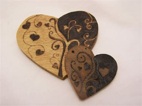 heart pattern wood pyrography wood burned hearts two valentine hearts