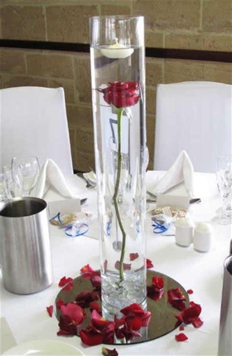 Single Flower Vase Centerpiece Single Red Rose In Cylinder Vase Jazzy S Wedding