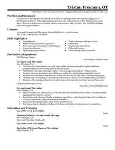 School Occupational Therapist Sle Resume by Occupational Therapist Resume Objective
