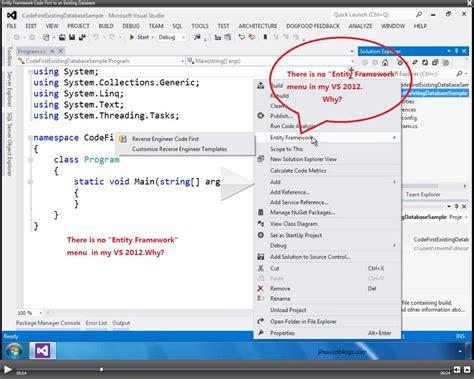 layout menu visual studio 2010 visual studio 2012 does not have entity framework menu