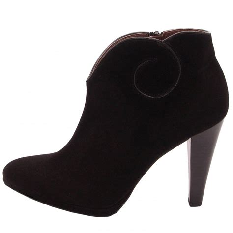 black ankle high heels kaiser piper high heel ankel boots in black suede