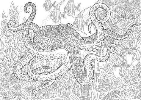 ocean animals coloring pages for adults adult coloring pages octopus and fish zentangle doodle