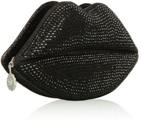 Lulu Guinness Snakeskin Lip Clutch by Lulu Guinness Black Snakeskin Clutch In Black Lyst