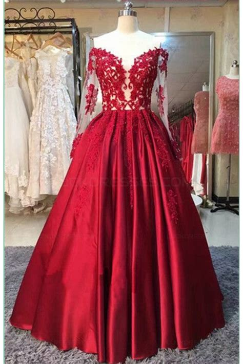 Sleeve Lace Evening Gown sleeves lace satin the shoulder prom dresses