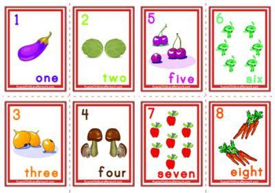 fruit 4 childcare counting numbers flashcards fruits and vegetables
