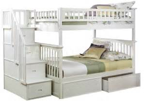 Bunk Bed With Staircase Columbia Staircase Bunk Bed Flat Panel Drawers White Bunk Beds Ab55812 7