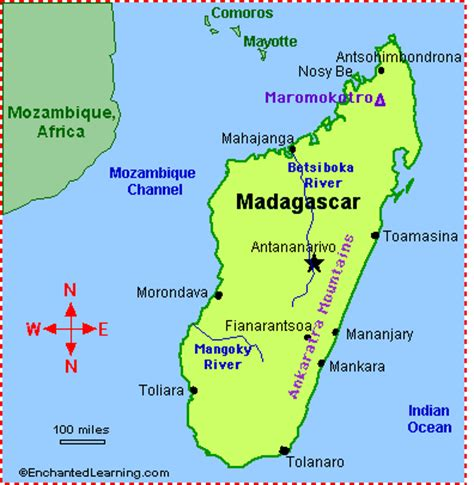 political map of madagascar quia madagascar physical features