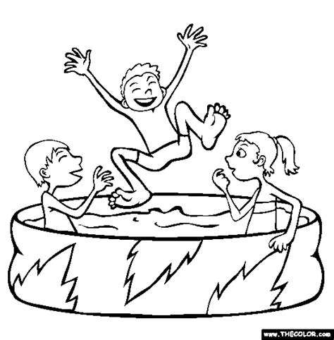 Summer Online Coloring Pages Page 1 Pool Coloring Page