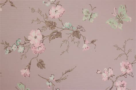tappezzeria vintage 1940s tappezzeria vintage rosa fiori farfalle verdi sulla