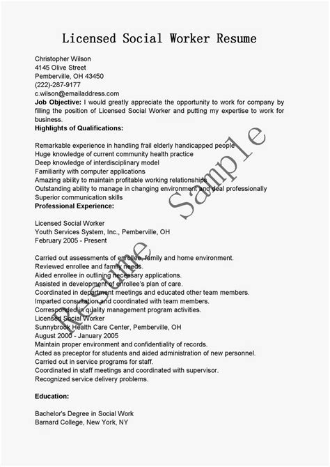 Resume For Career Change To Social Work Resume Sles Licensed Social Worker Resume Sle