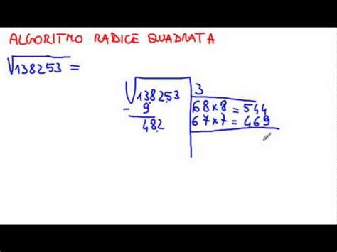 tavole numeriche radice quadrata algoritmo radice quadrata flv