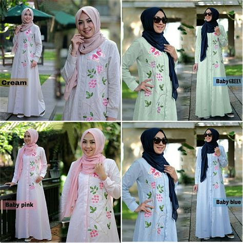 Gamis Muslim Bordir gamis modern zahra katun bordir baju muslim remaja