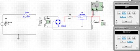 variable capacitor multisim multisim struggling with a power supply circuit electrical engineering stack exchange