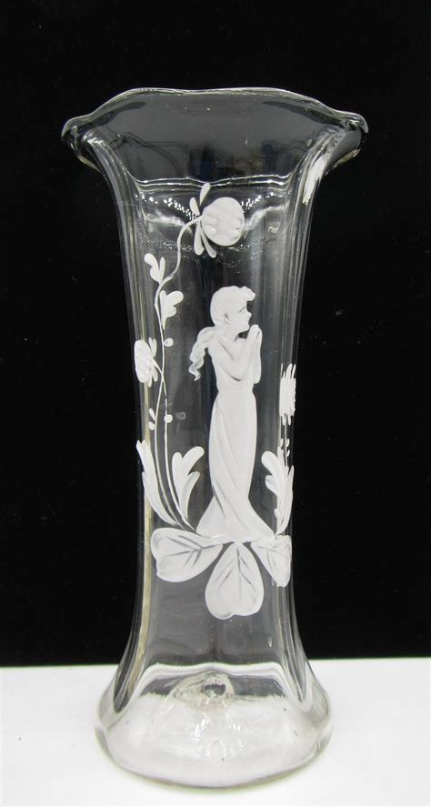 Antique Glass Vases Value by Antique Gregory Clear Glass White Enameled 6 5