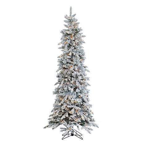 sterling nine foot flocked led trees sterling 7 1 2 narrow flocked pencil pine lighted tree 7937946 hsn