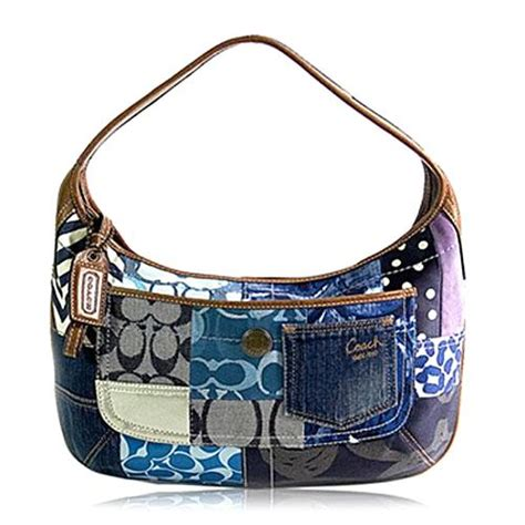 Patchwork Coach Purse - blue handbags coach blue patchwork purses