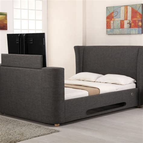 headboard speakers lb777 grey fabric music tv bed