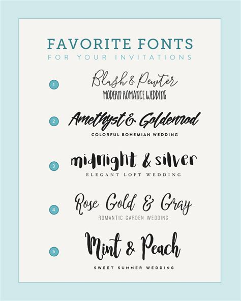 Wedding Font Tips by Five Font Pairings To Match Your Wedding Style Budget