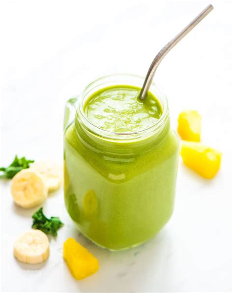 protein green smoothie kale pineapple healthy breakfast smoothie