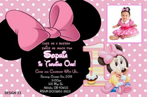 free minnie mouse 1st birthday invitations templates baby minnie 1st birthday invitations drevio invitations