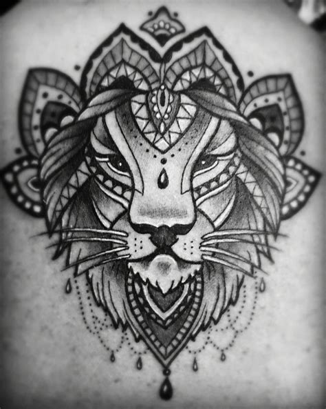 lion mandala tattoo black line mandala small tattoos