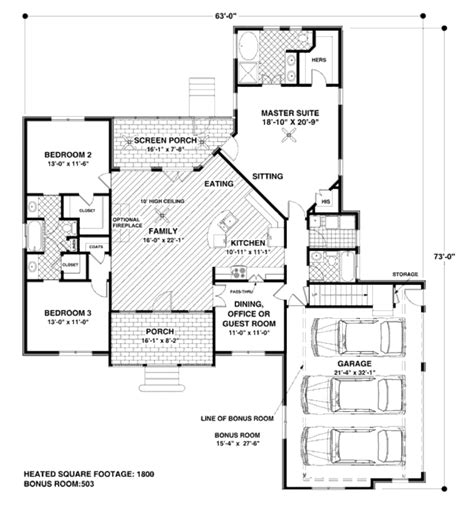 square feet of 3 car garage traditional style house plan 4 beds 3 00 baths 1800 sq