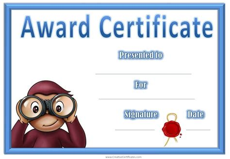 child certificate template award certificates with curious george